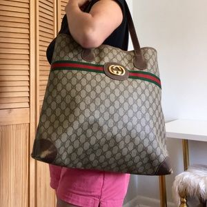 Authentic GUCCI large coated canvas tote